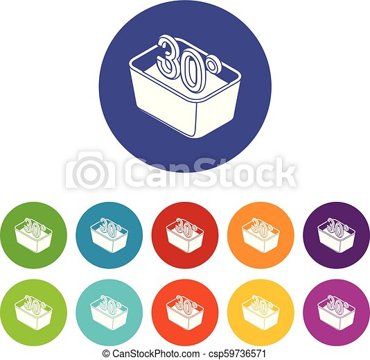 Hand Wash 30 Degrees Celsius Icons Set Vector Color
