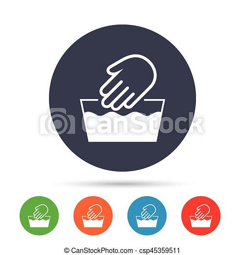 Hand Wash Sign Icon Not Machine Washable Symbol Round Colourful