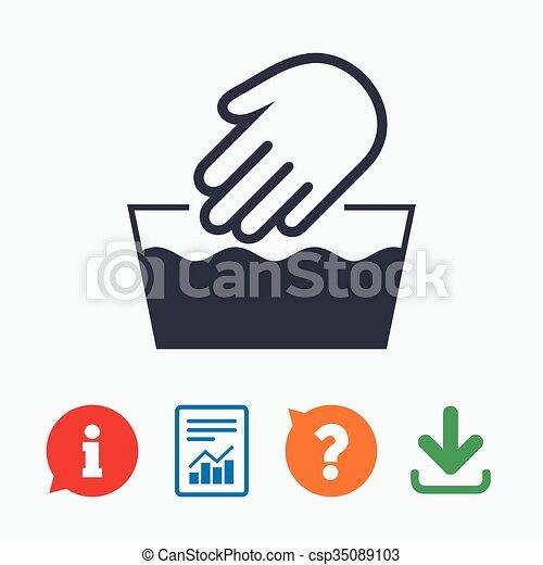 Hand Wash Sign Icon Not Machine Washable Symbol Information Think