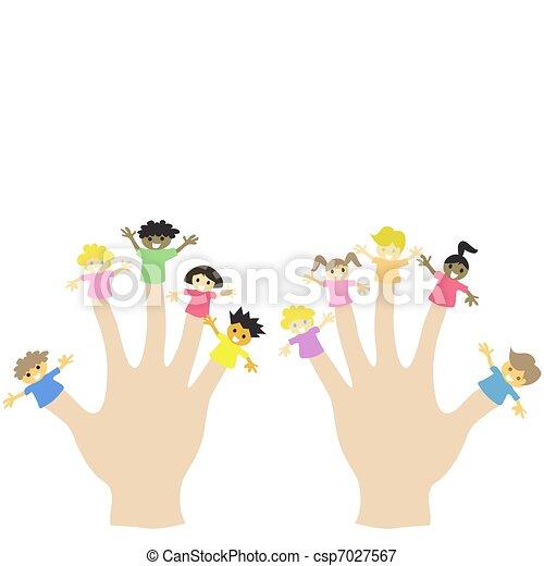 hand wearing 10 finger children puppets  - csp7027567
