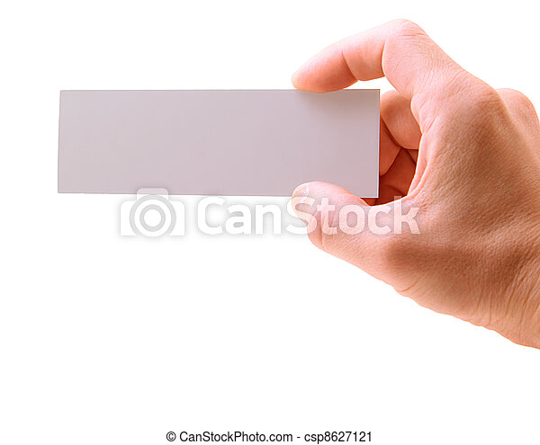 hand with a card isolated on white background - csp8627121
