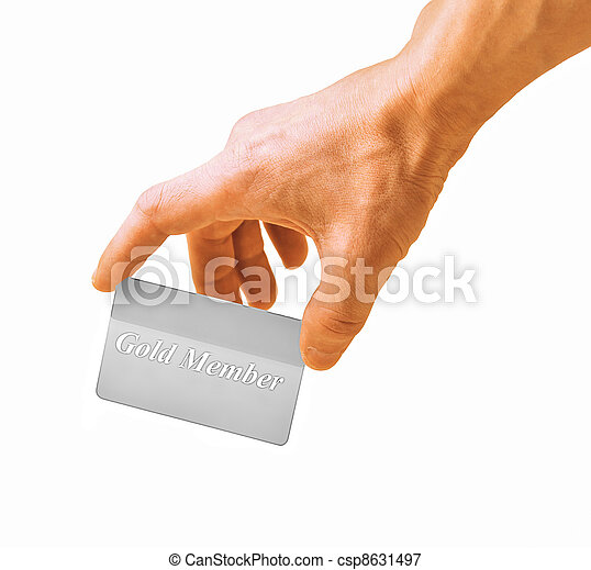 hand with a card isolated on white background - csp8631497