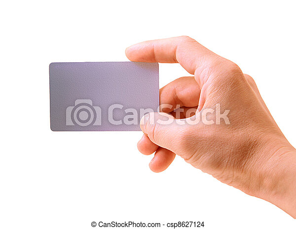 hand with a card isolated on white background - csp8627124