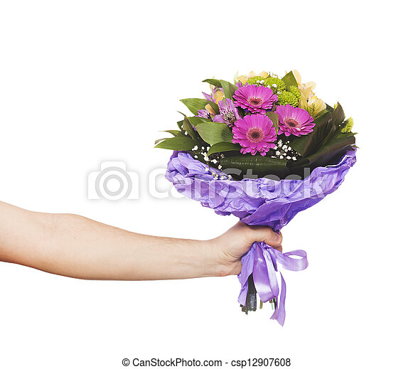 hand with a flowers isolated on white - csp12907608