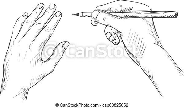 Hand with a pencil drawing sketch - csp60825052