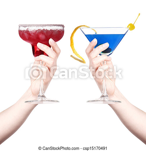 hand with alcohol cocktail making toast - csp15170491