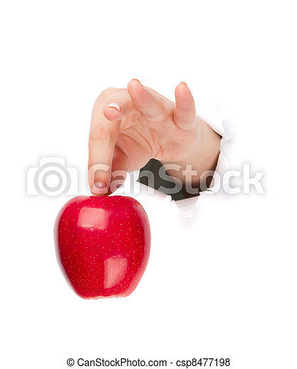 Hand with apple - csp8477198