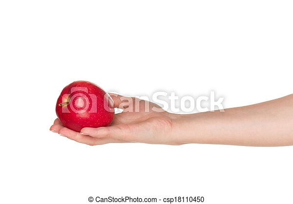 Hand with apple - csp18110450