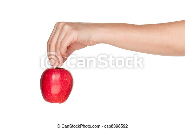 Hand with apple - csp8398592