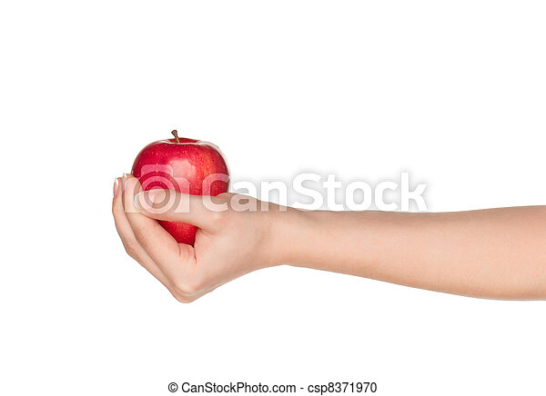 Hand with apple - csp8371970