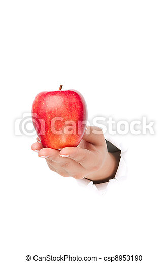 Hand with apple - csp8953190