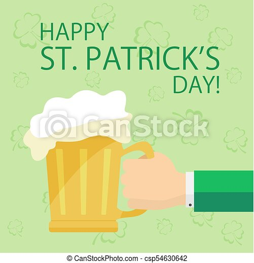 Hand with beer on Patricks day background - csp54630642