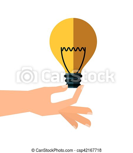 hand with bulb light - csp42167718