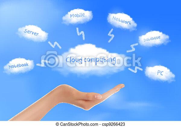 Hand with cloud computing diagram   - csp9266423