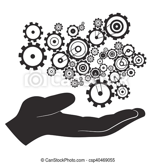 Hand with Cogs - Gears Vector - csp40469055
