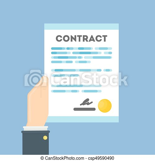 Hand with contract. - csp49590490