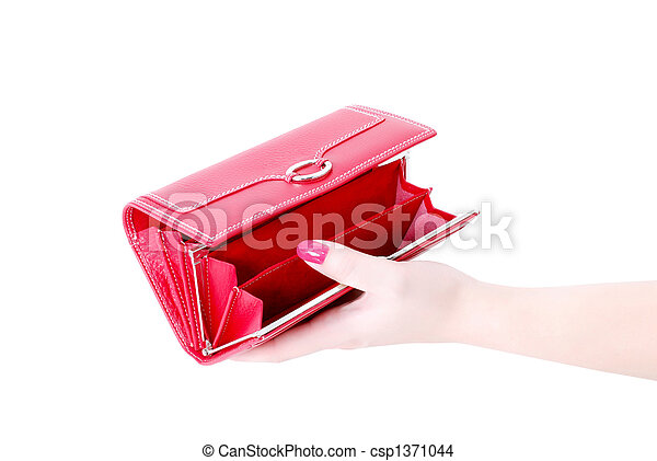 hand with empty purse feminine red 3 - csp1371044