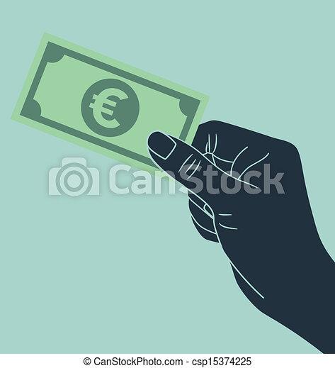 Hand with euro money - csp15374225