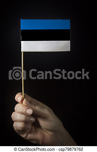 Hand with flag of Estonia - csp79879762
