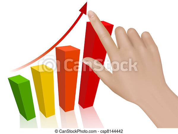 Hand with graph. Concept of success - csp8144442