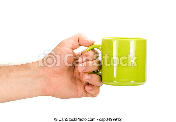 Hand with green cup - csp8499912