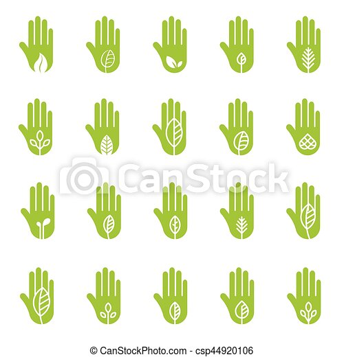 Hand with green leaf logo elements - csp44920106