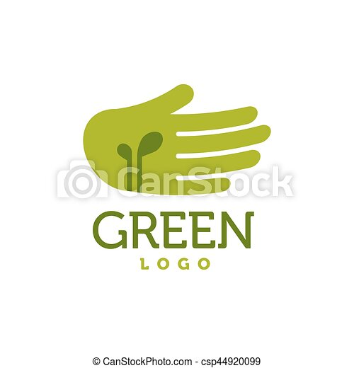 Hand with green sprouts logo. Care concept - csp44920099