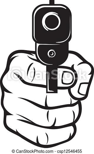 hand with gun (pistol), gun pointed - csp12546455
