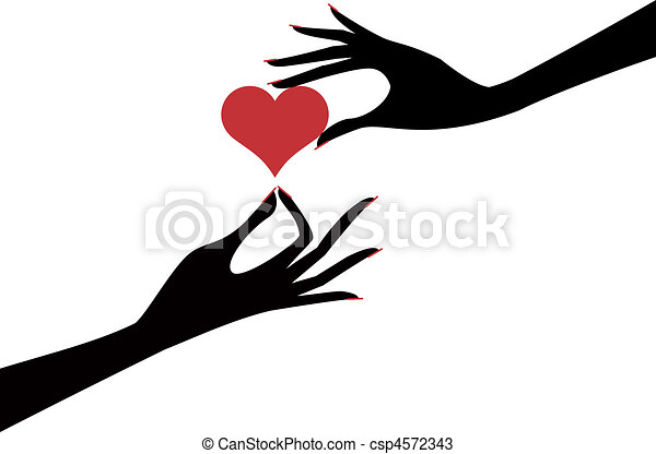 hand with heart female hands holding red heart vector vectors rh canstockphoto com hand vector pick hand vectors free