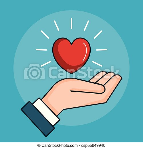 Hand With Heart Love Peace Symbol Vector Illustration