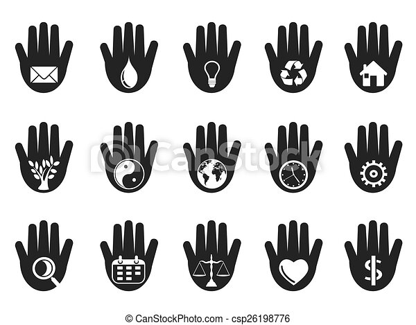 hand with icons set - csp26198776
