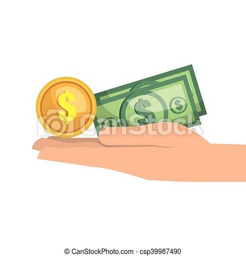 hand with money bill - csp39987490