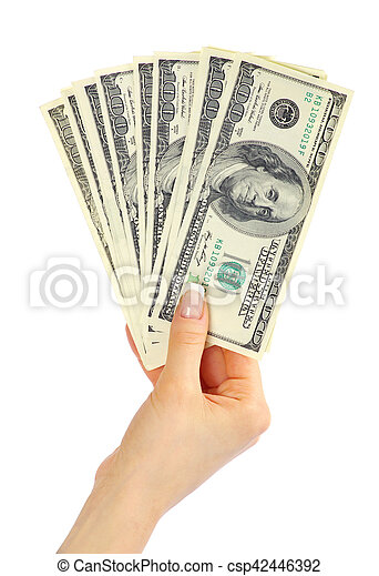 Hand with money isolated on white background - csp42446392