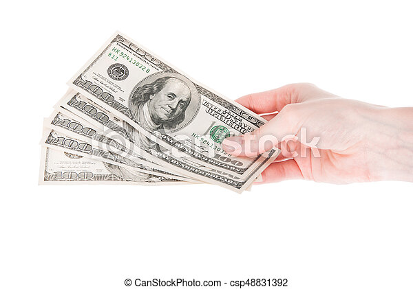 Hand with money isolated on white background - csp48831392