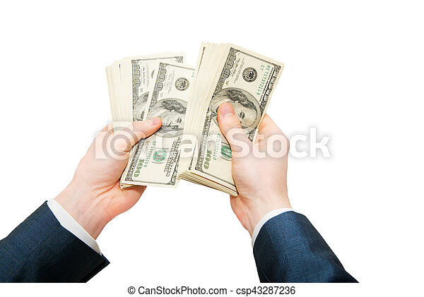 Hand with money isolated on white background - csp43287236