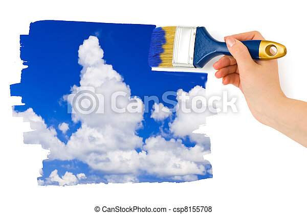 Hand with paintbrush painting sky - csp8155708