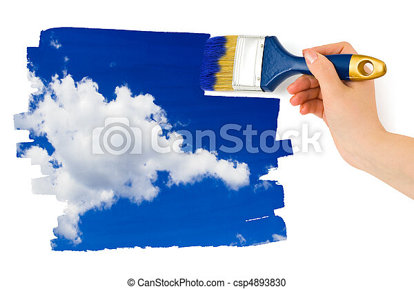 Hand with paintbrush painting sky - csp4893830