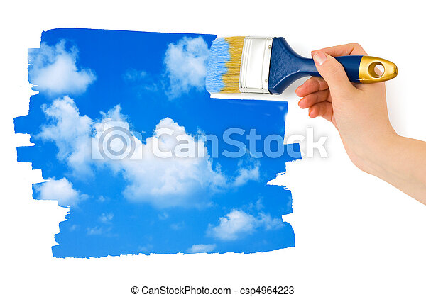 Hand with paintbrush painting sky - csp4964223