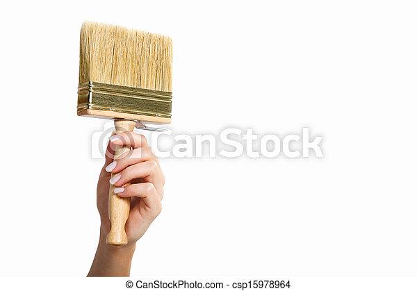 Hand with paintbrush - csp15978964
