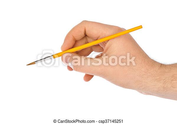 Hand with paintbrush - csp37145251