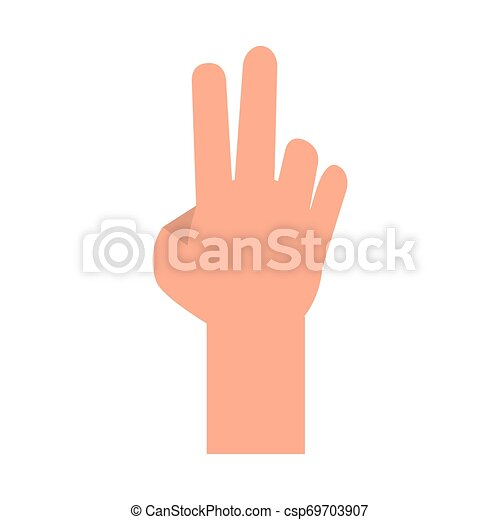 Hand with peace sign cartoon isolated - csp69703907