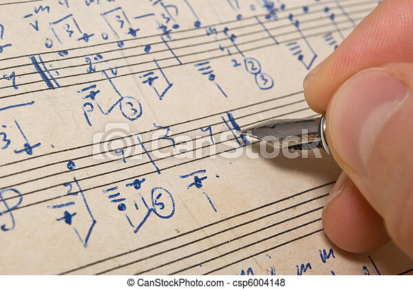 Hand with pen and music sheet - musical background - csp6004148