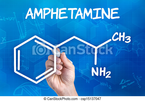 hand with pen drawing the chemical formula of amphetamine - csp15137047