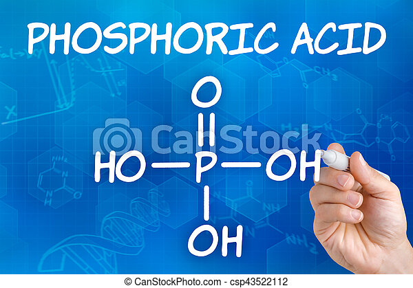 Hand With Pen Drawing The Chemical Formula Of Phosphoric Acid