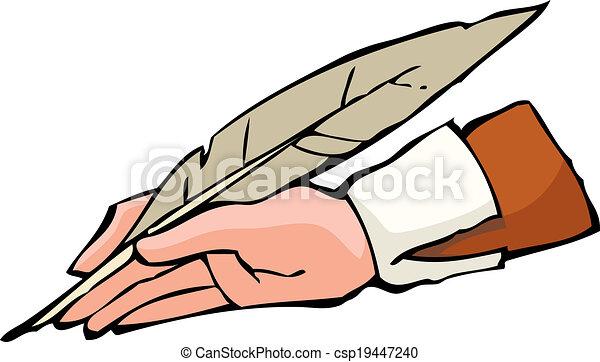 Hand with pen - csp19447240