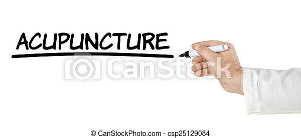 Hand with pen writing Acupuncture - csp25129084