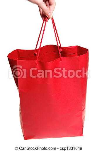 Hand with red bag - csp1331049