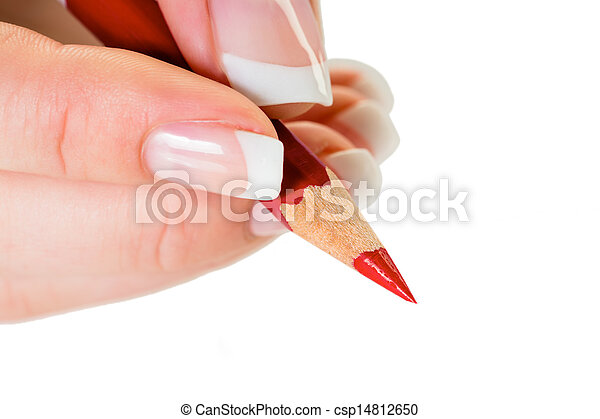 hand with red pencil - csp14812650