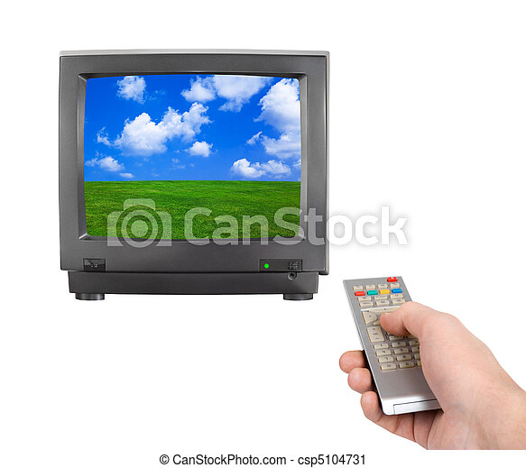 Hand with remote control and tv - csp5104731
