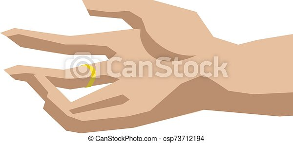 Hand with ring, illustration, vector on white background. - csp73712194